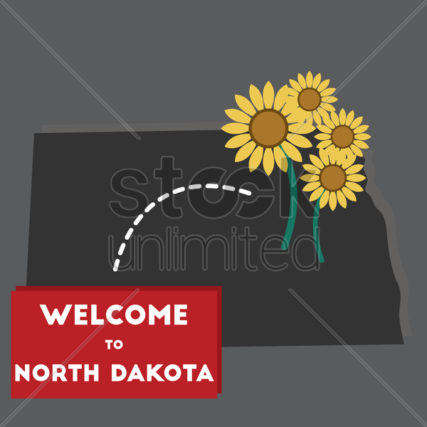 welcome to north dakota state vector graphic