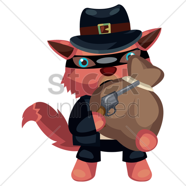 wolf character as a robber vector graphic