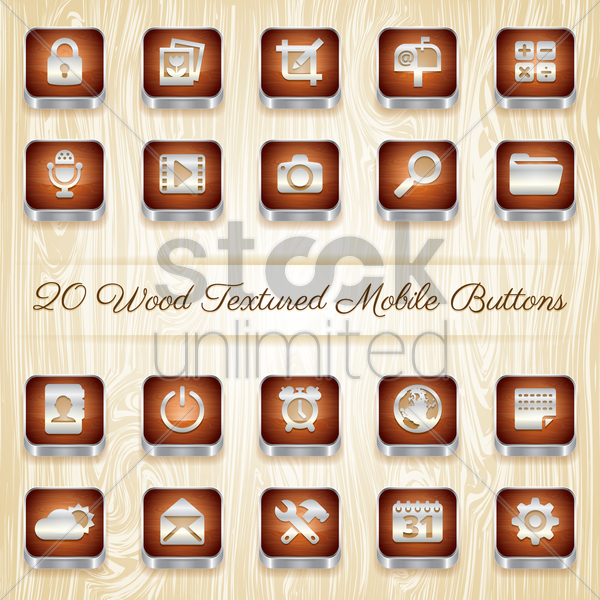 wood textured mobile buttons vector graphic