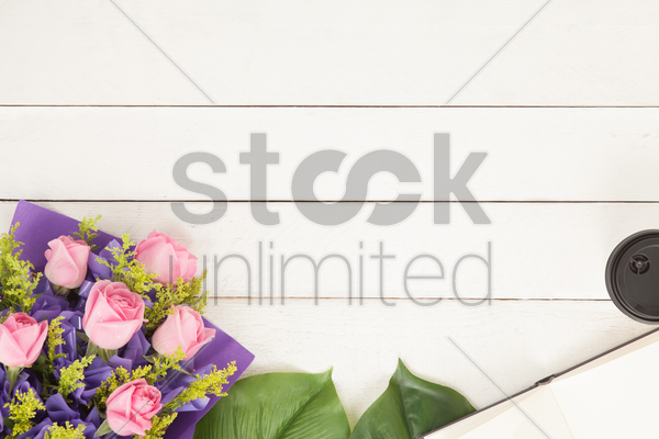 flatlay with flower bouquet stock photo