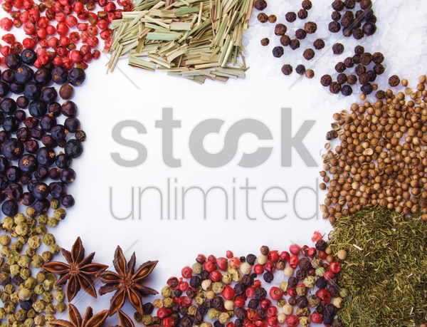 frame of diferent spices on white background stock photo