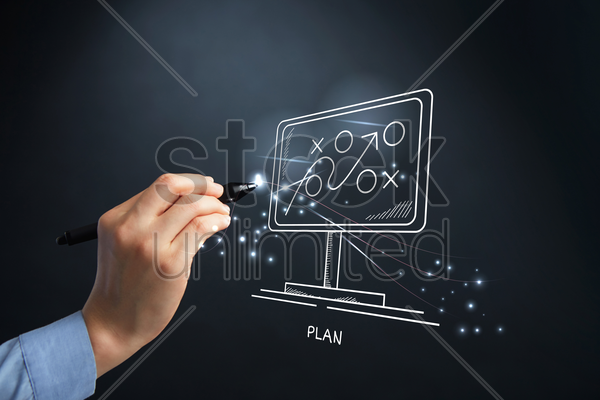 hand drawing plan concept with digital pen stock photo
