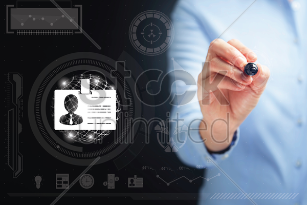 hand holding a digital pen with id card icon stock photo