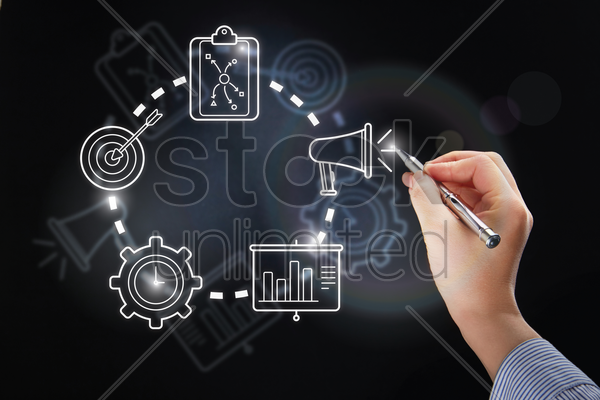 hand illustrating business strategic planning concept stock photo