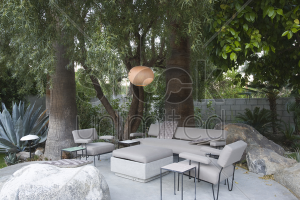 outdoor garden furniture in palm springs home stock photo