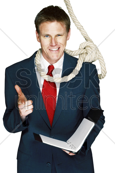 rope hanging around businessman's neck stock photo