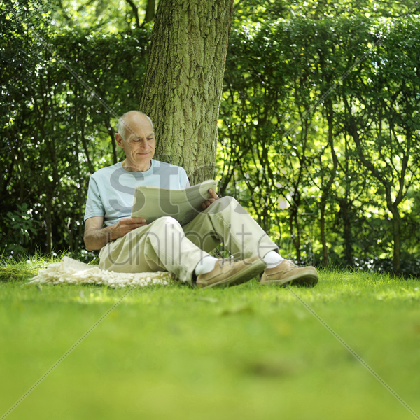 senior man leaning against a tree reading newspaper stock photo