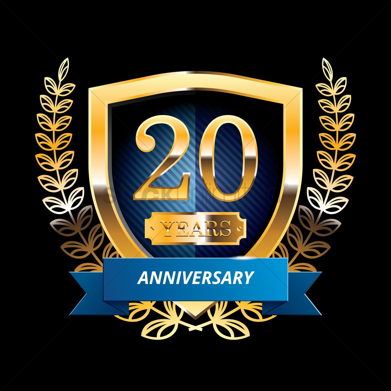 20 Years Anniversary Label With Ribbon Vector Image 1399810
