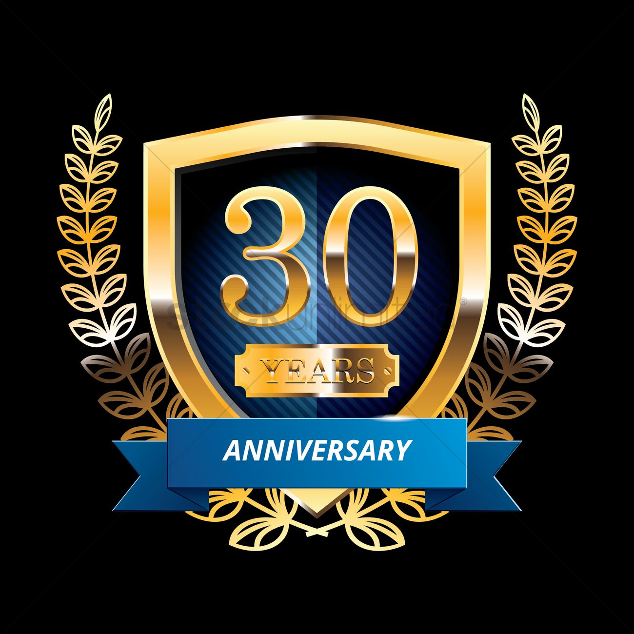 30 years anniversary label with ribbon vector image 1399826