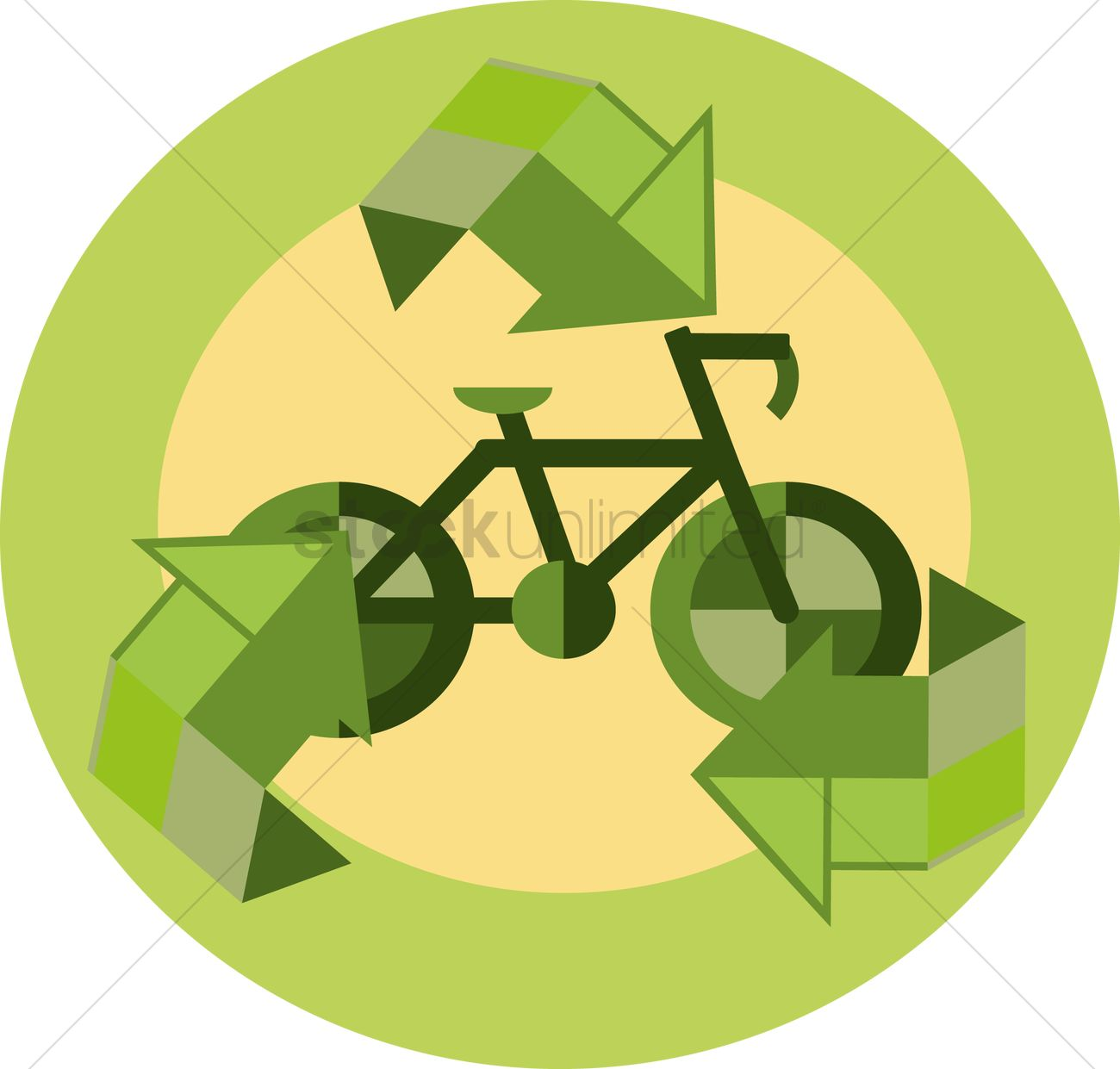 Free A Bicycle And Recycle Symbol Vector Image 1262094