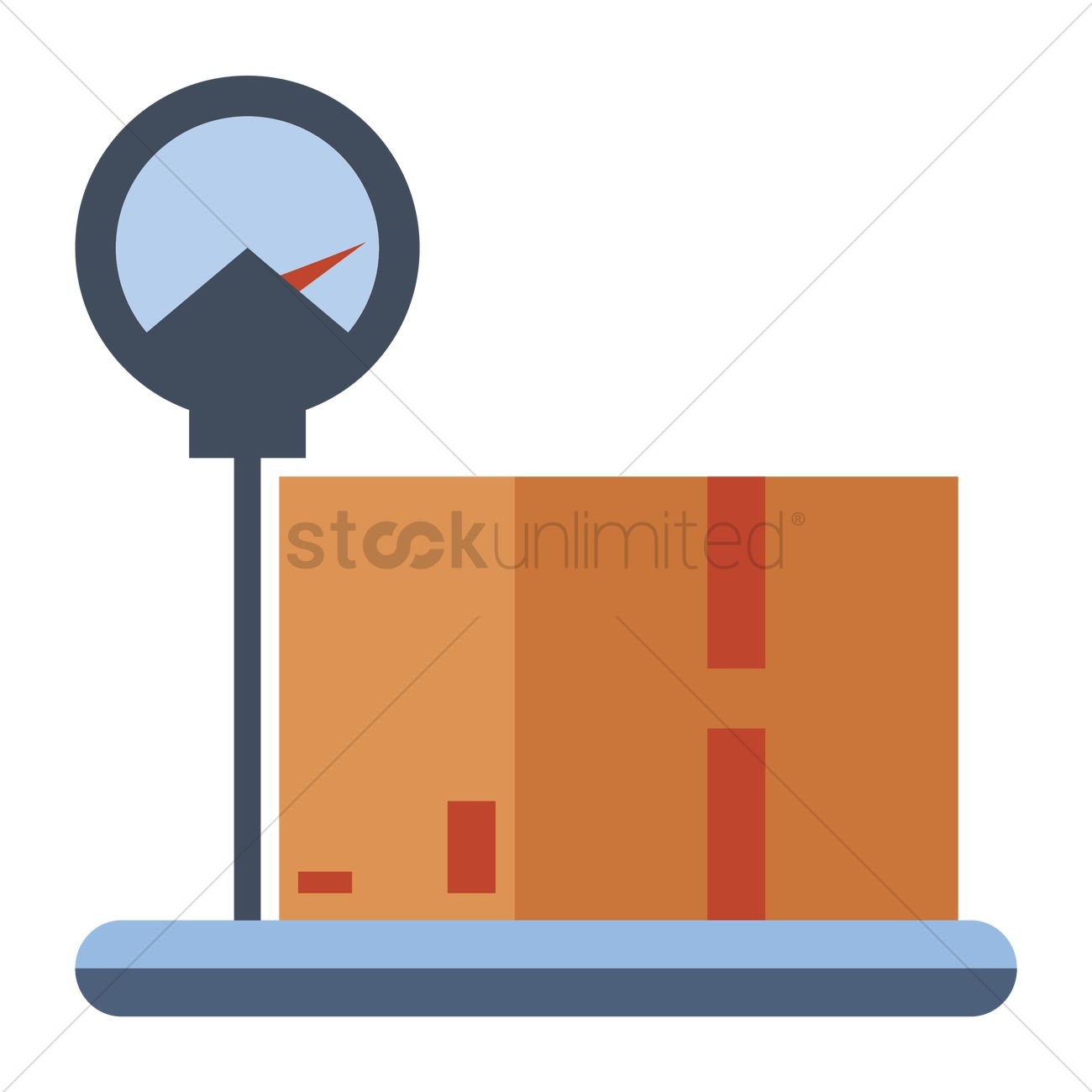 a cardboard box on a weighing scale vector image 1243998