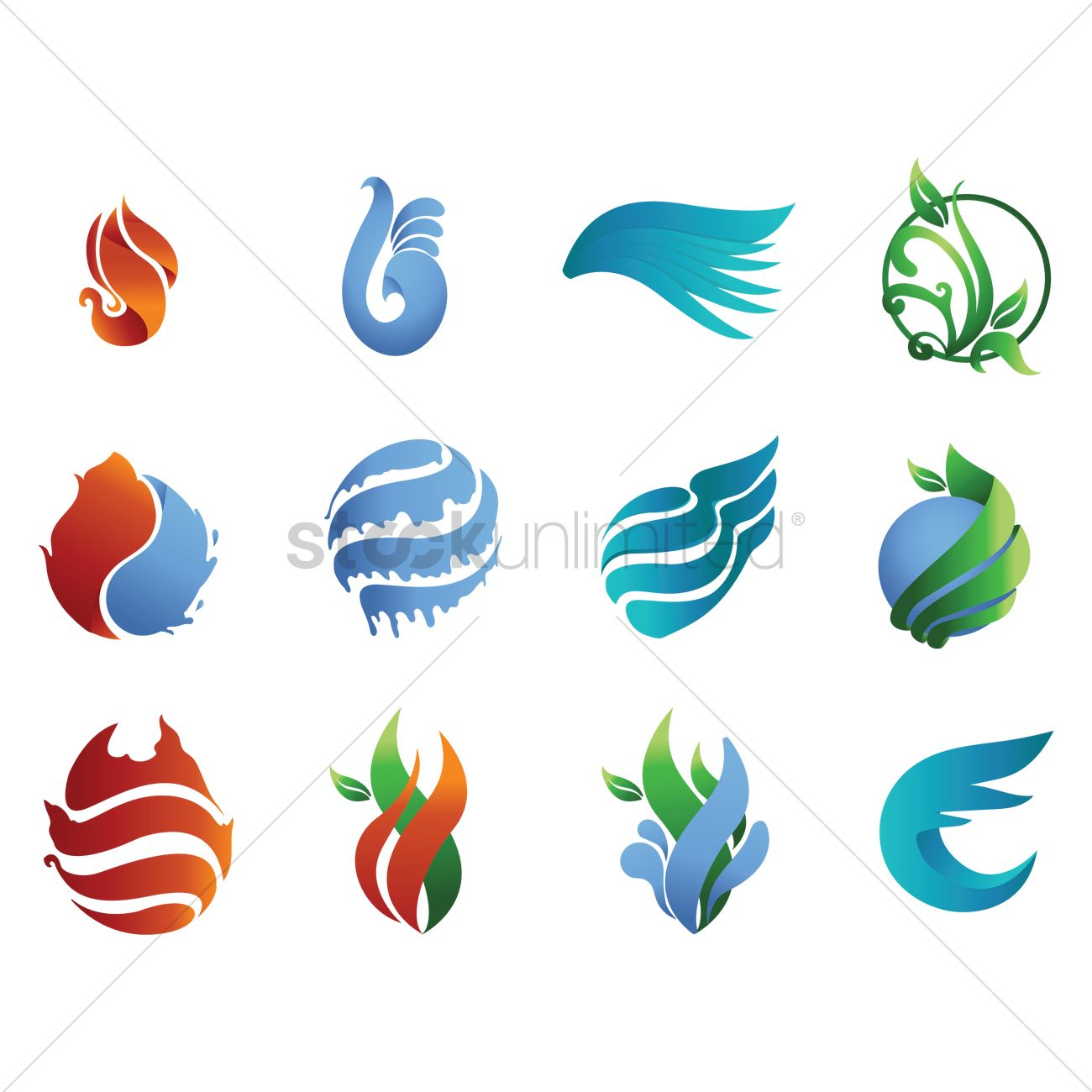 abstract icon design collection vector graphic