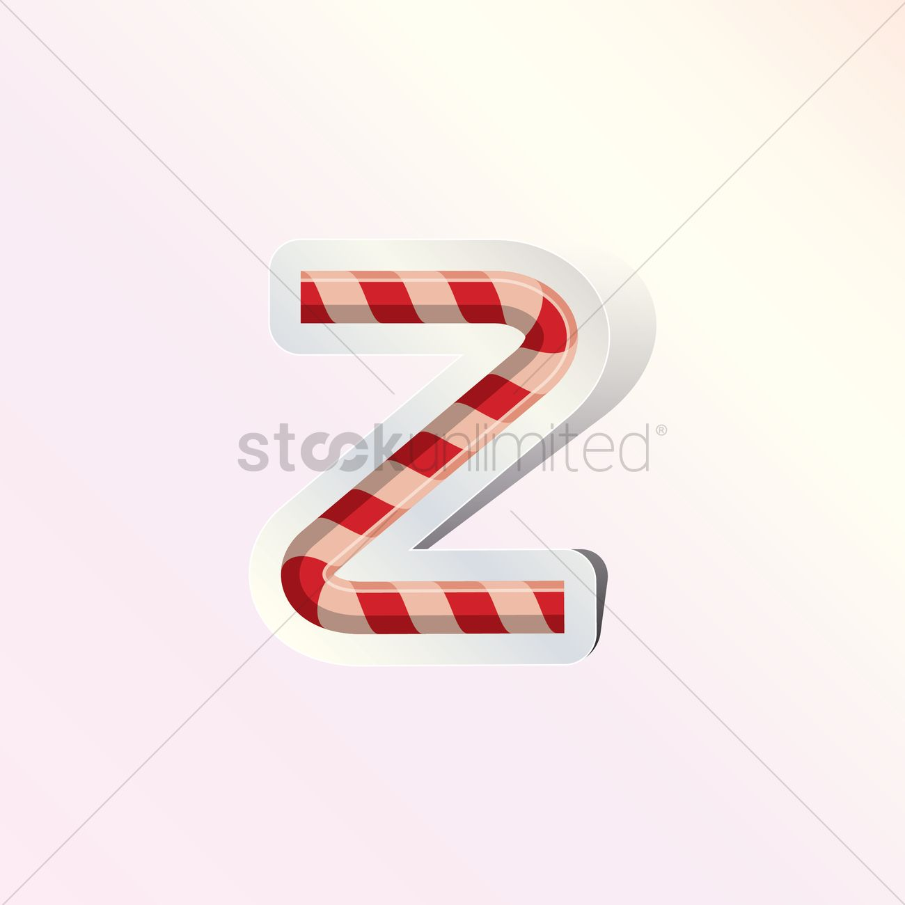 Alphabet small letter z in candy cane design Vector Image