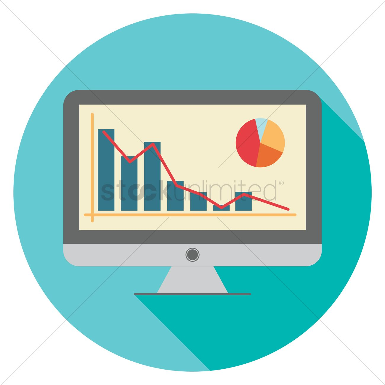 Bar Graph And Pie Chart Monitor Vector Image 1446878 Stockunlimited