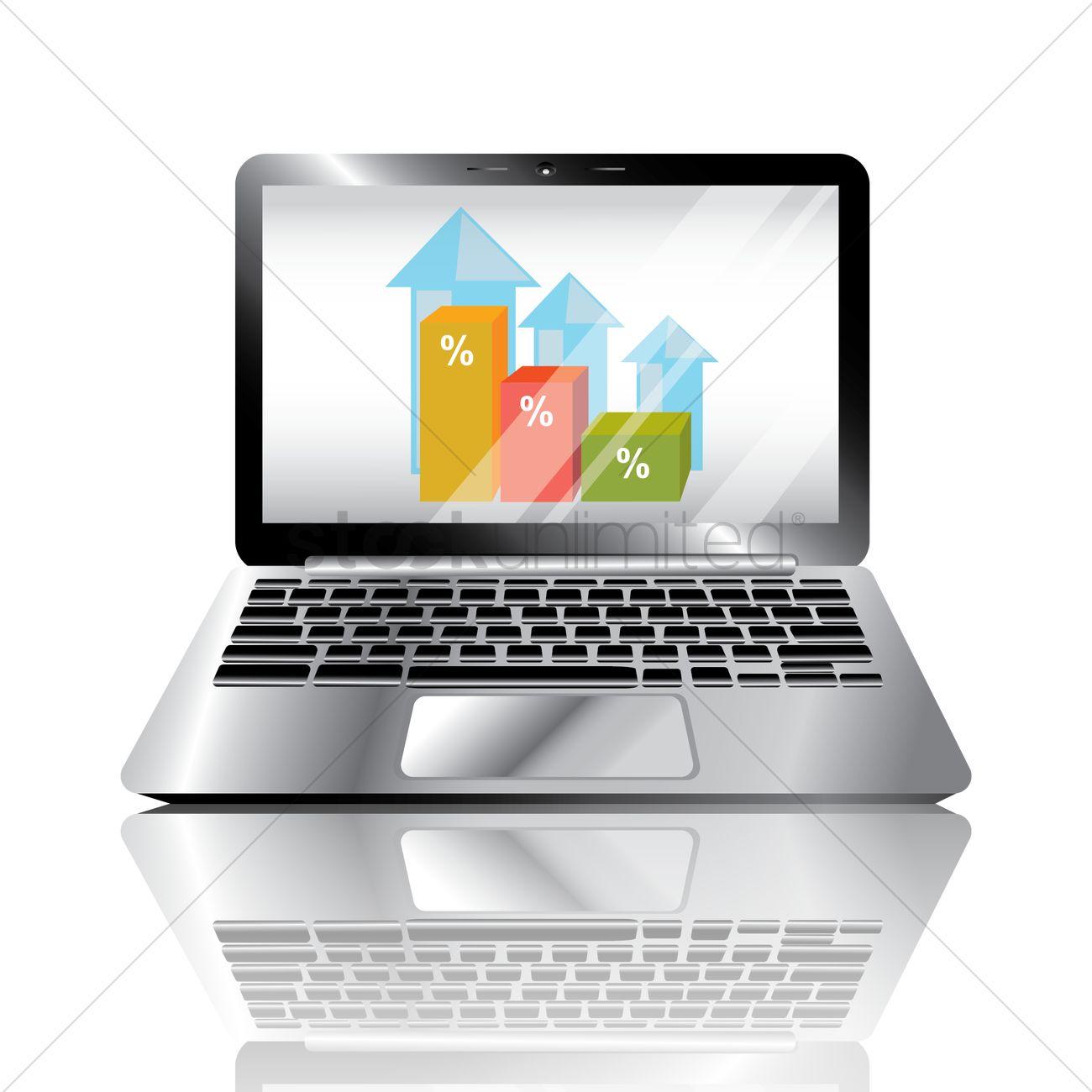 Bar graph presentation on laptop Vector Image - 1510926
