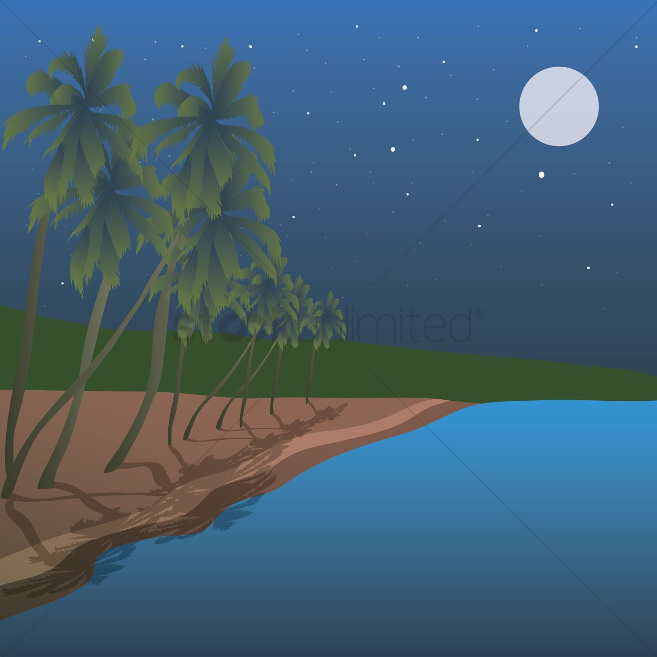 Beach At Night Vector Graphic
