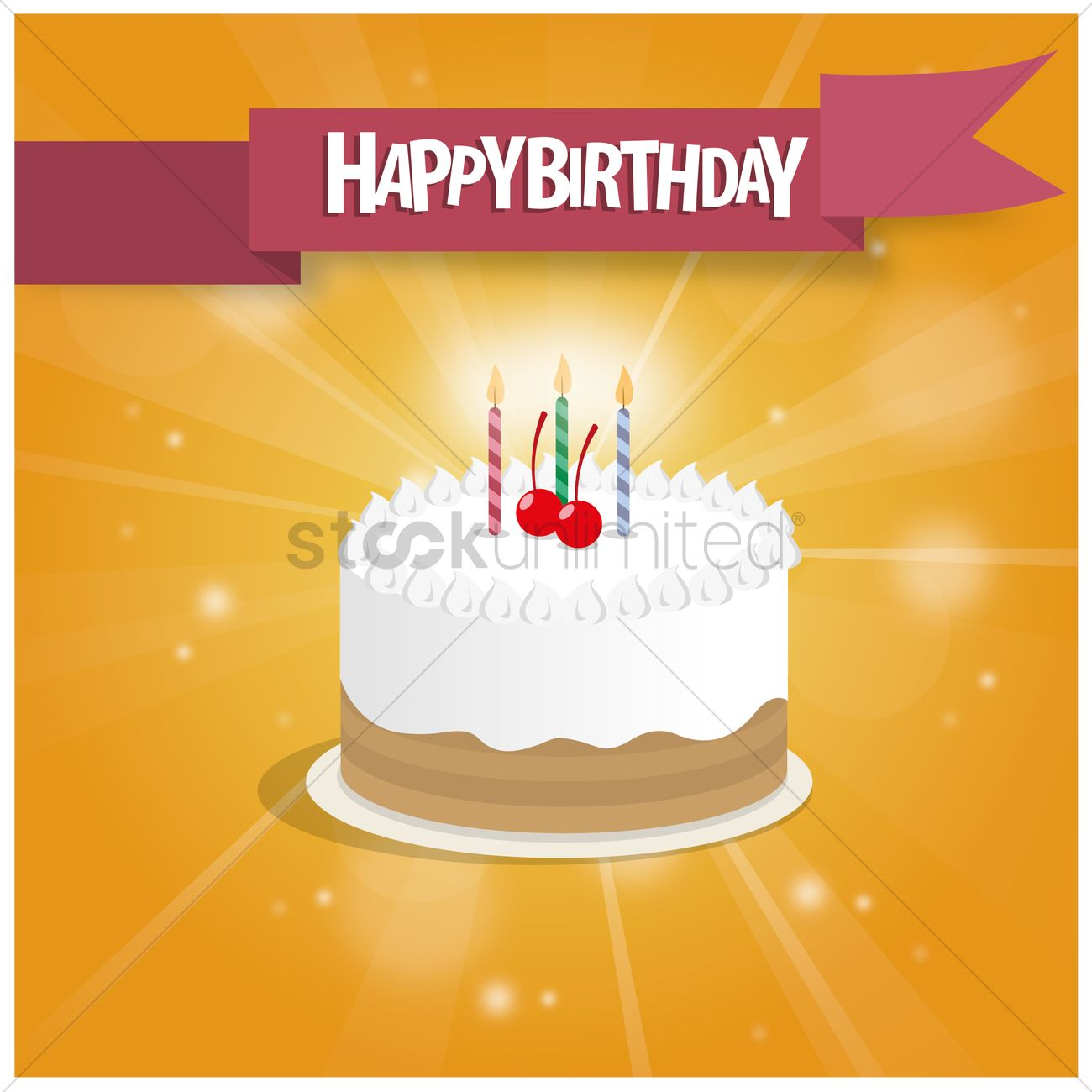 Birthday Cake With Banner Vector Graphic