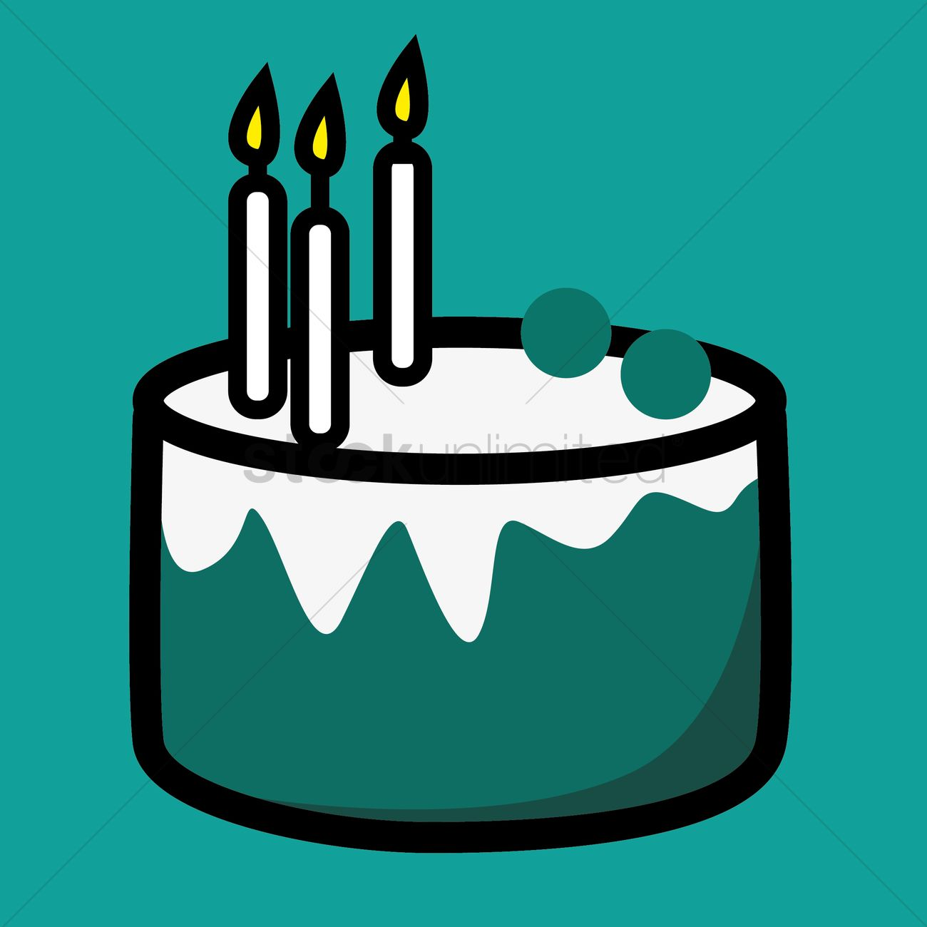 Birthday Cake With Three Burning Candles Vector Image 1353234