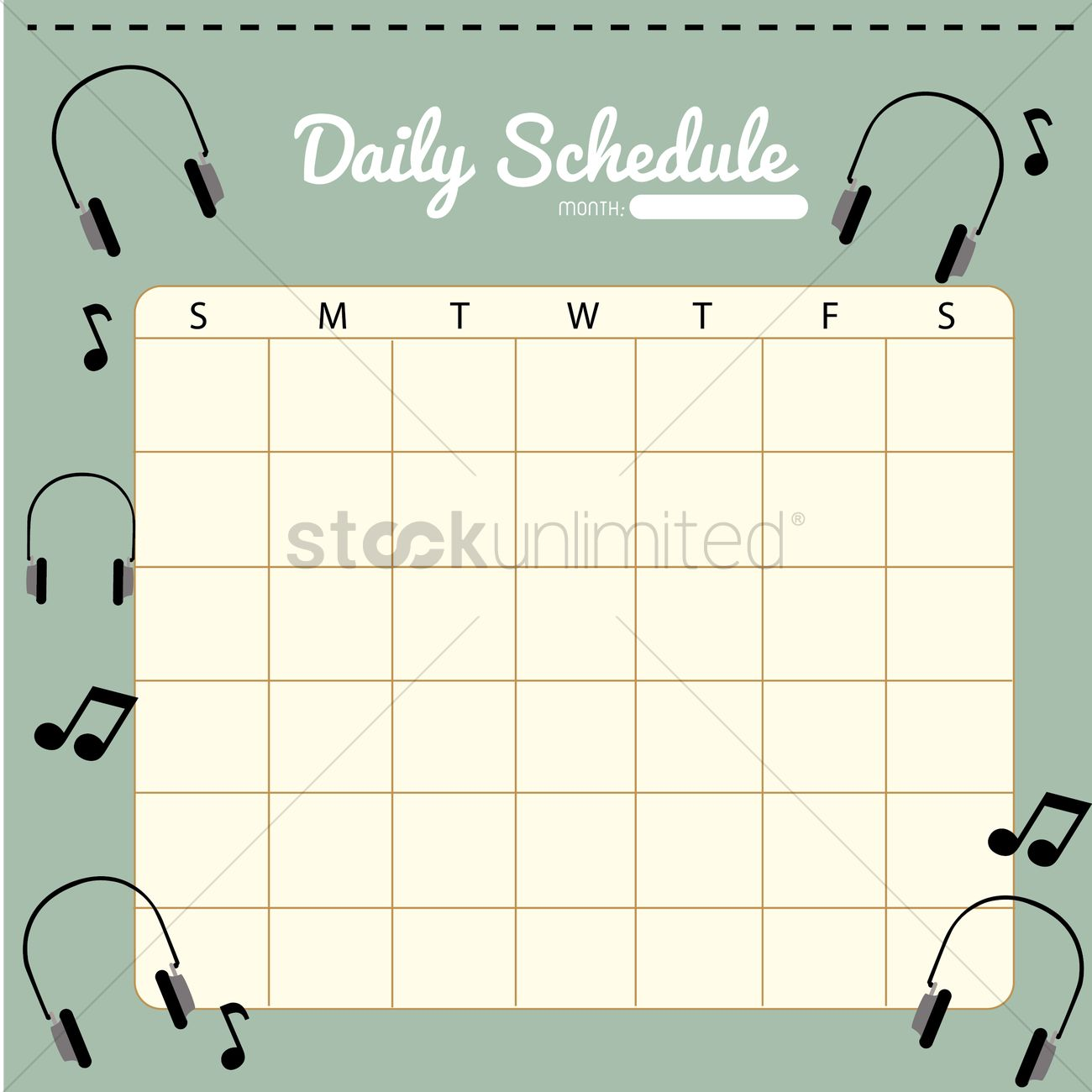 Blank Daily Planner Template Design Vector Image 1479902
