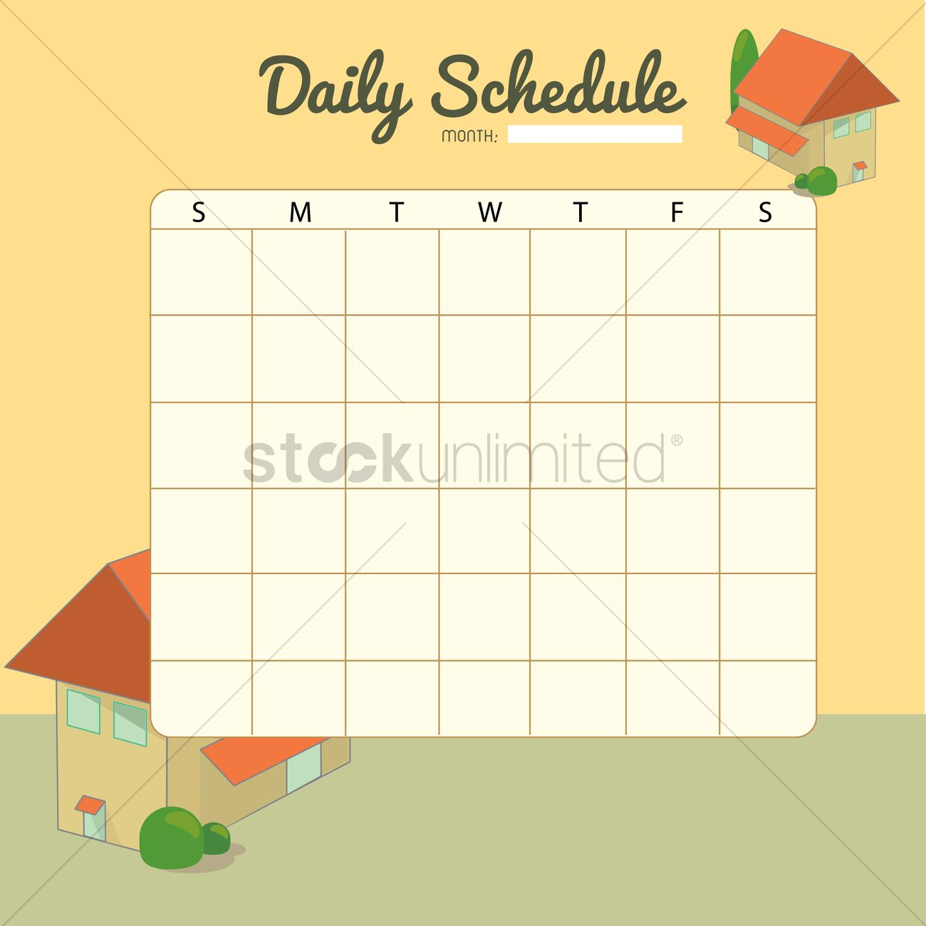 Blank Daily Planner Template Design Vector Image 1479954