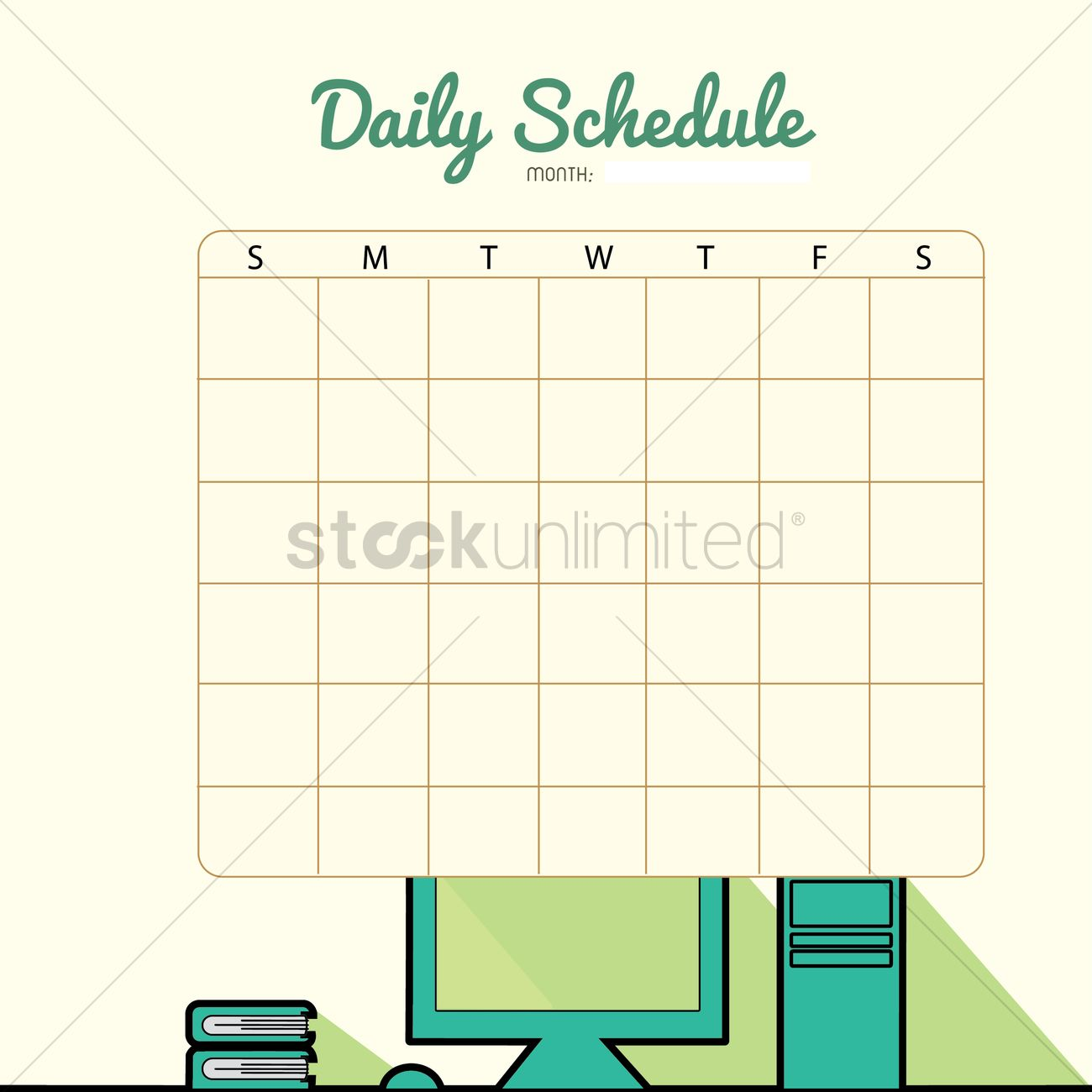 Blank Daily Planner Template Design Vector Image 1480006