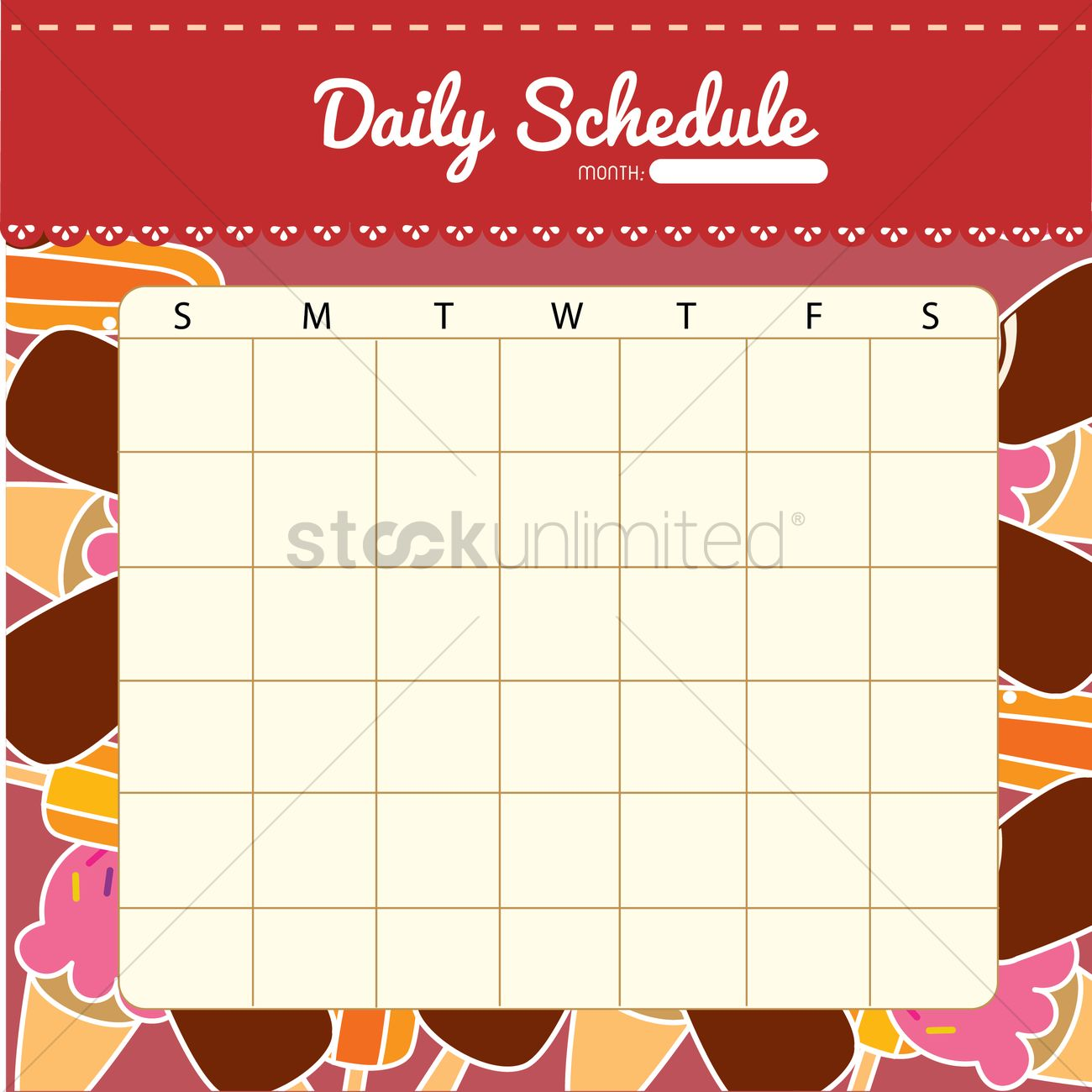 Blank Daily Planner Template Design Vector Graphic