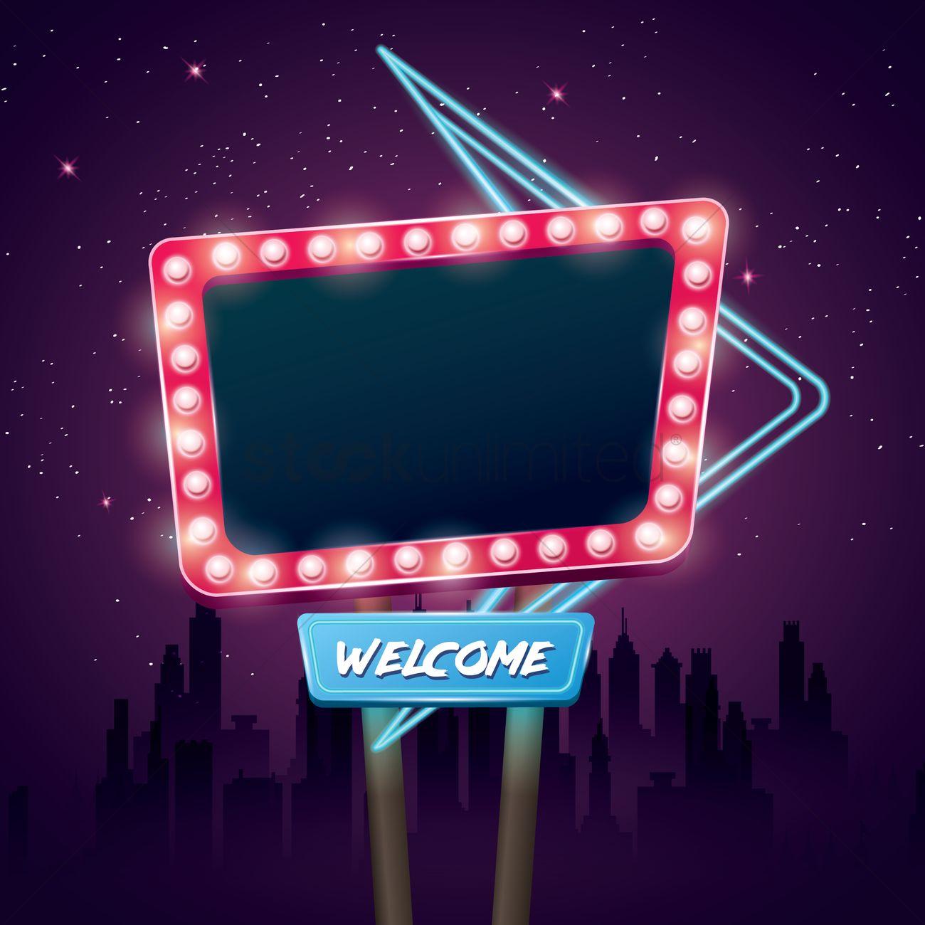 Blank retro neon signboard Vector Image - 1962682