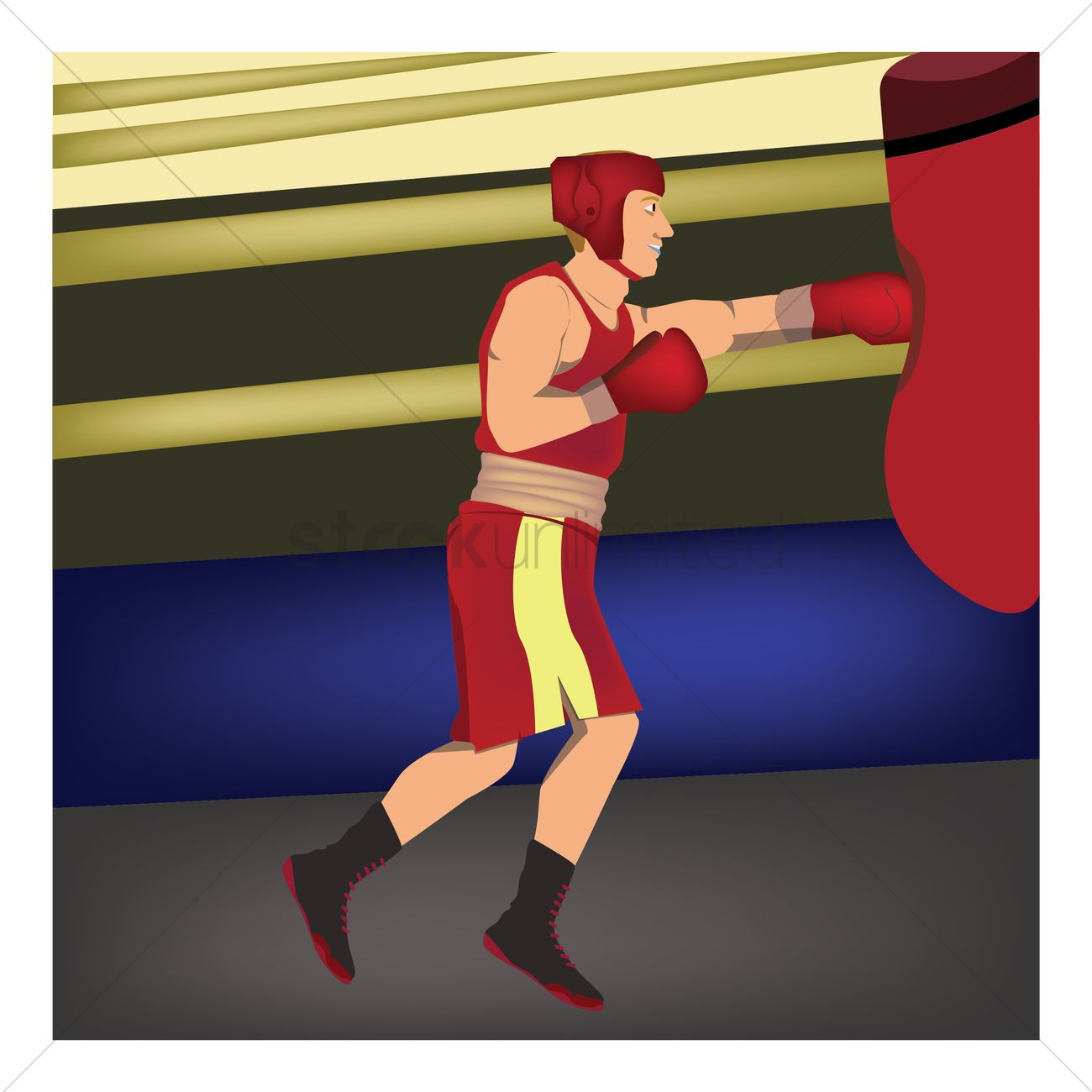 Boxer hitting the punching bag Vector Image - 1587850