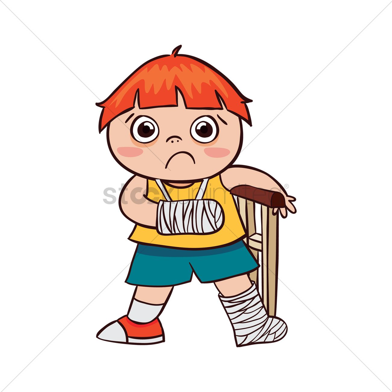 boy with broken arm and leg vector image 1956890 stockunlimited rh stockunlimited com Broken Arm Animated GIFs Broken Arm Cartoon