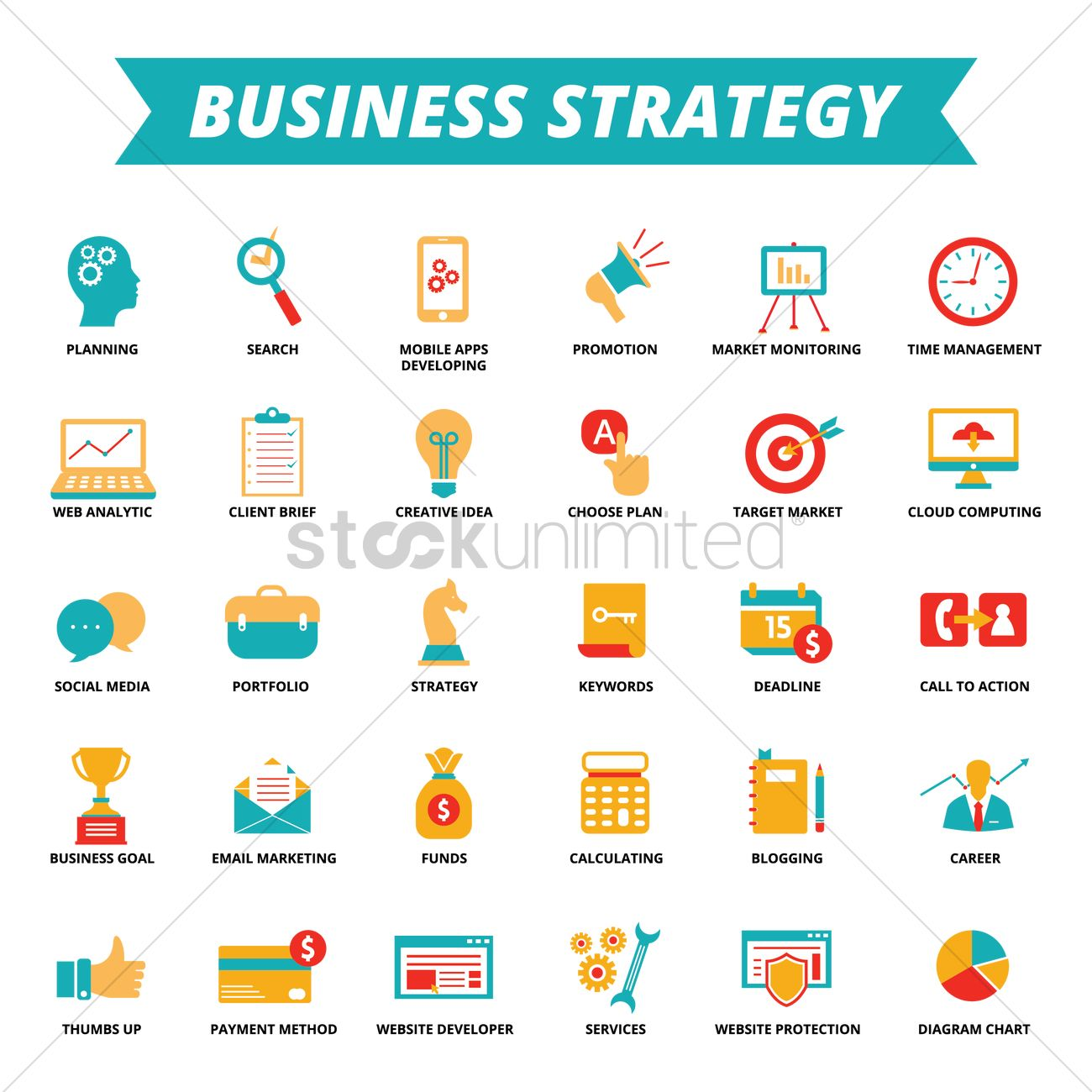 Business Strategy Icons Vector Graphic