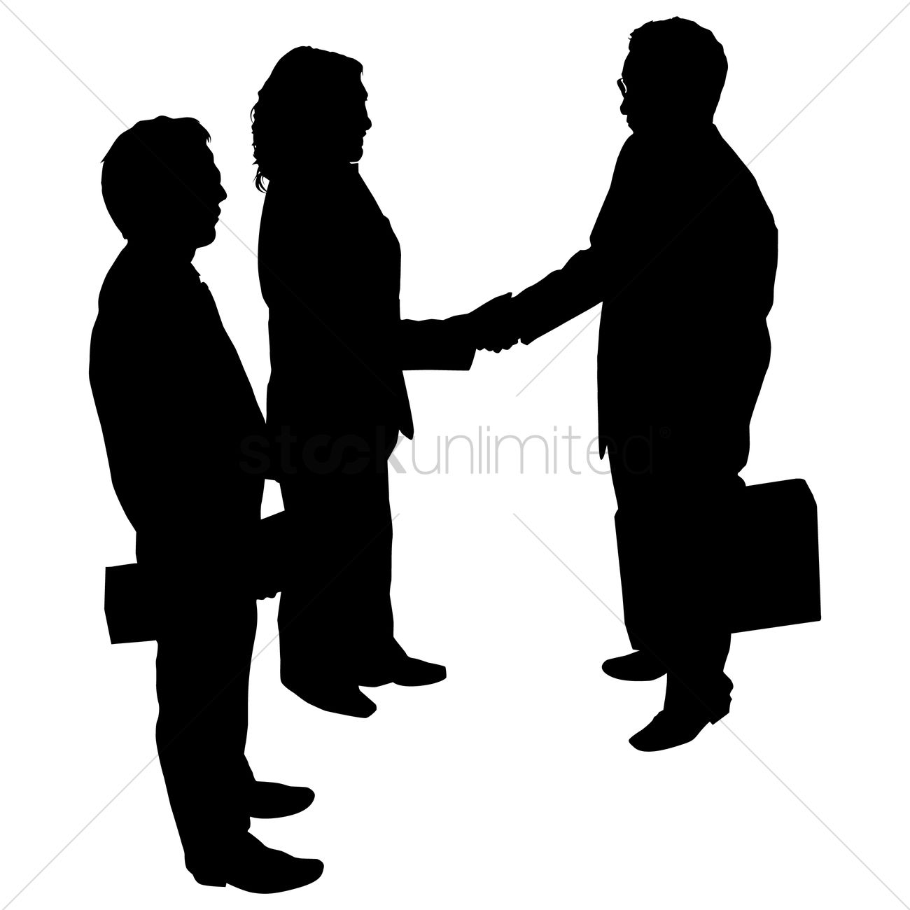 Businessman and woman shaking hand silhouette Vector Image ... for Business People Silhouette Png  53kxo
