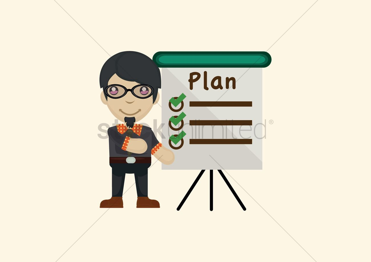 businessman presenting business plan vector graphic