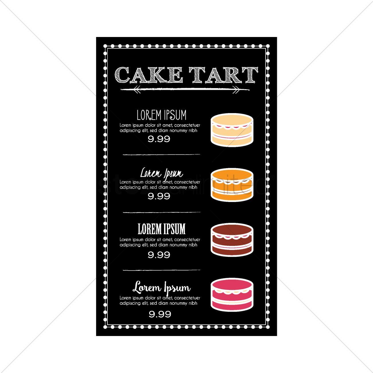 Cake Tart Menu Design Vector Image 1772322 Stockunlimited