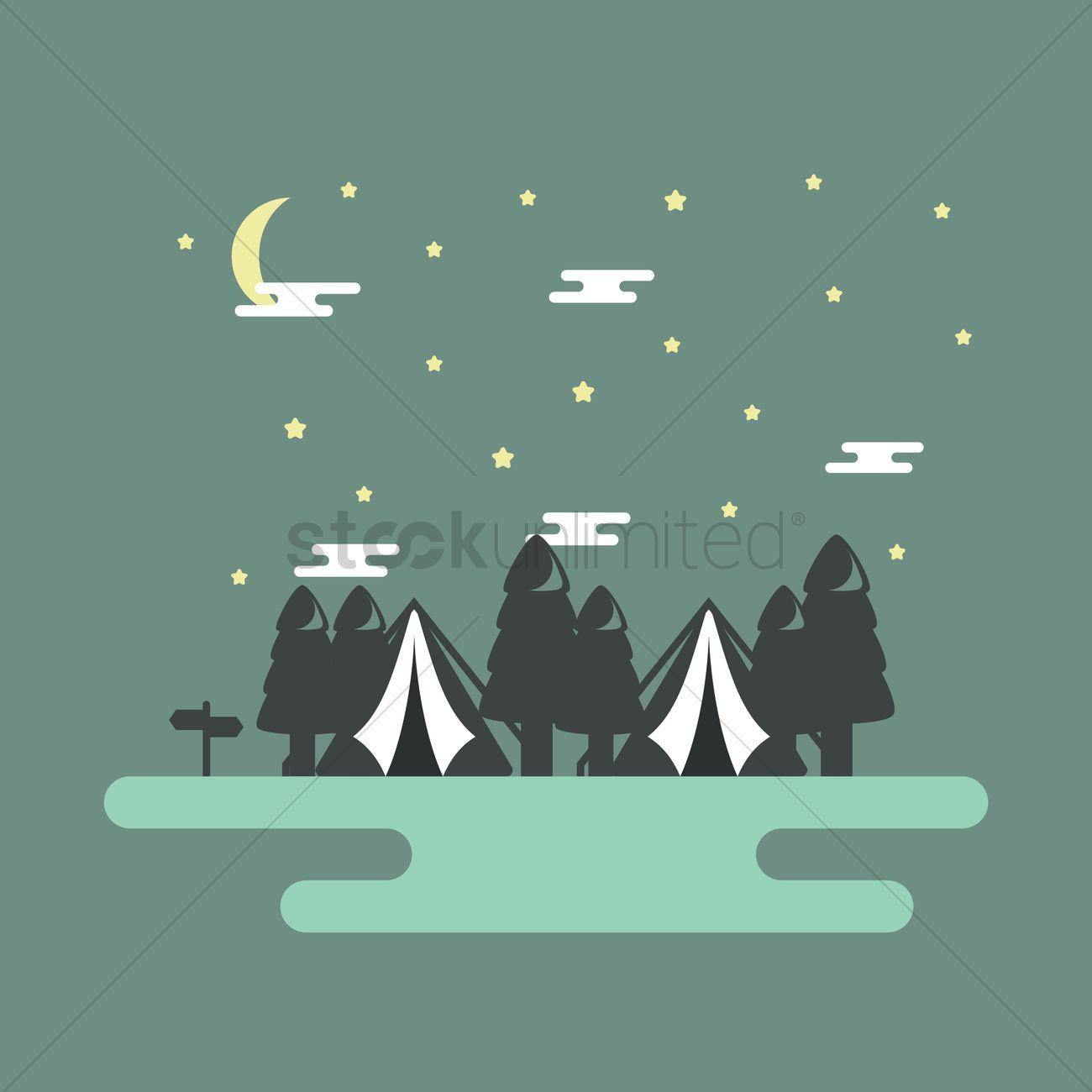 Camping Wallpaper Vector Image 1703562 Stockunlimited