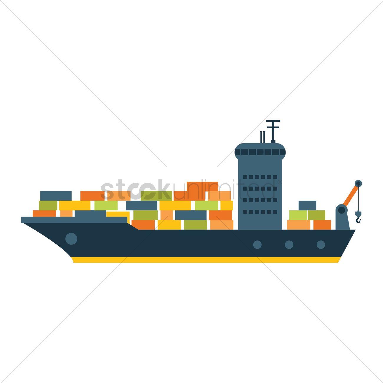 Cargo ship Vector Image - 1308050 | StockUnlimited