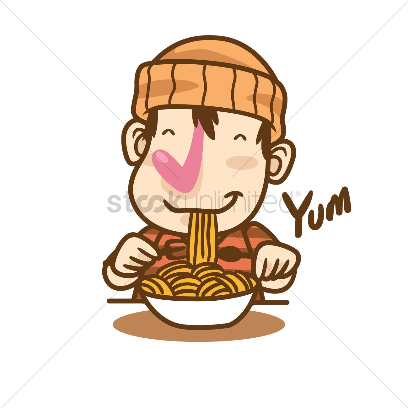 Cartoon Character Eating Noodles Vector Image 1935102 Stockunlimited