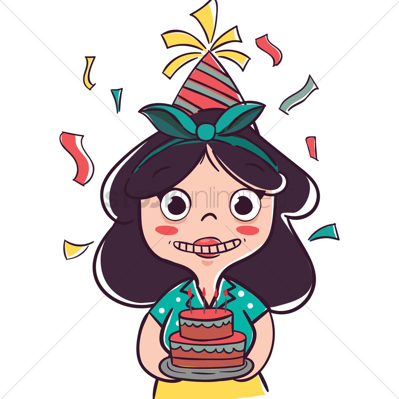Cartoon Girl With Birthday Cake Vector Image 1957654 Stockunlimited