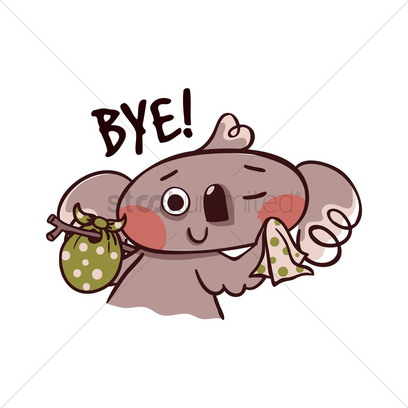 Cartoon Koala Bear Saying Bye Vector Image 1957418