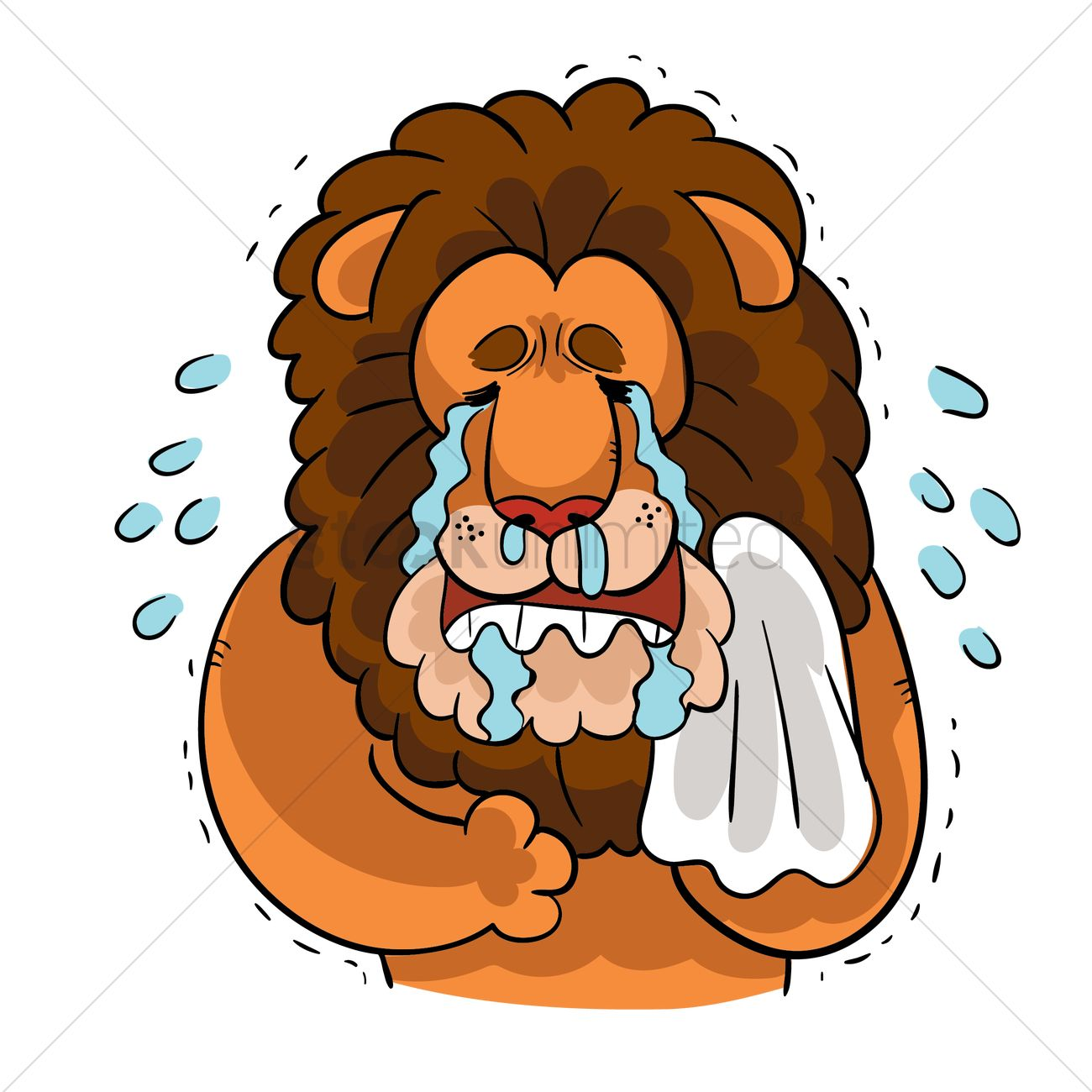 cartoon lion crying his eyes out vector graphic