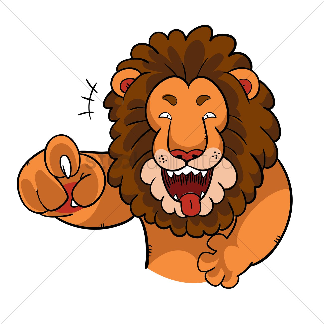cartoon lion laughing and pointing vector graphic