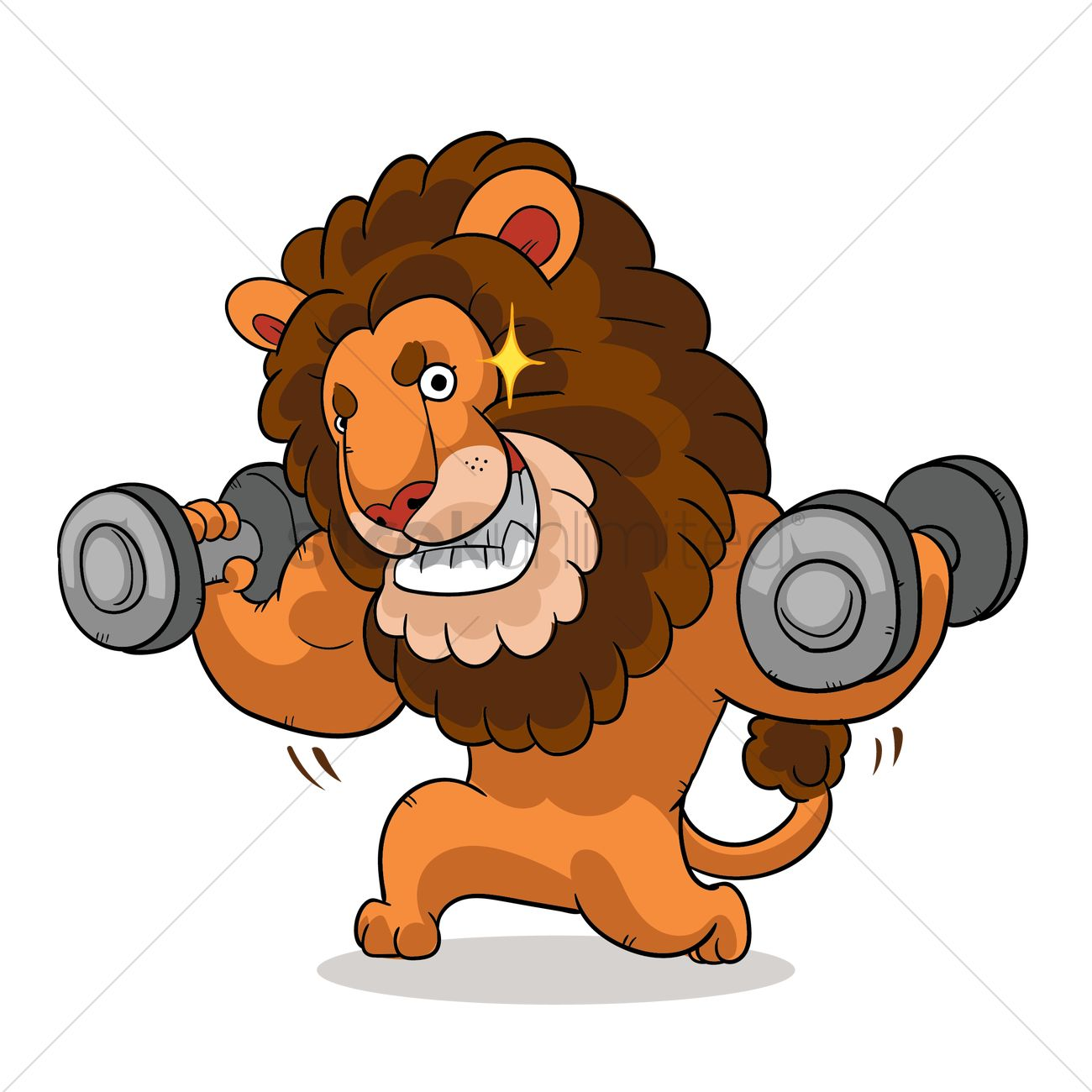 cartoon lion lifting weights and feeling confident vector graphic