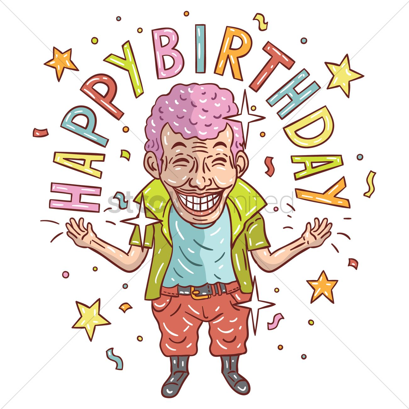 Cartoon Man Wishing Happy Birthday Vector Image 1955674