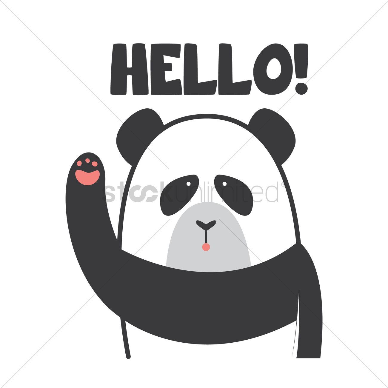 cartoon panda saying hello vector image 1958766 stockunlimited