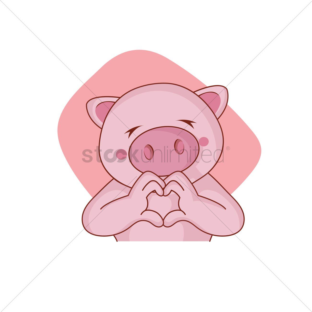 Cartoon Pig Hand Gesturing A Heart Shape Vector Graphic