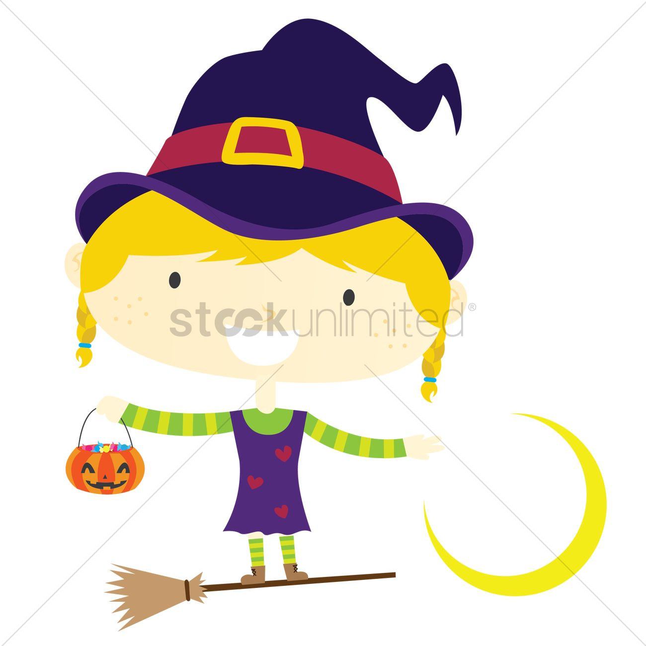 Cartoon witch standing on a broom Vector Image - 1270854