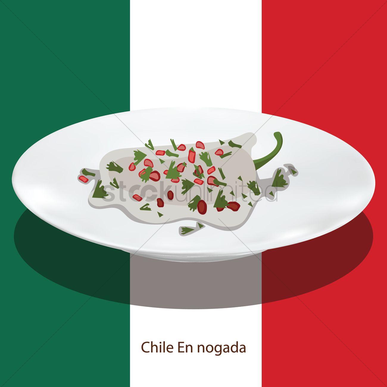 Chile En Nogada Vector Image 1615766 Stockunlimited