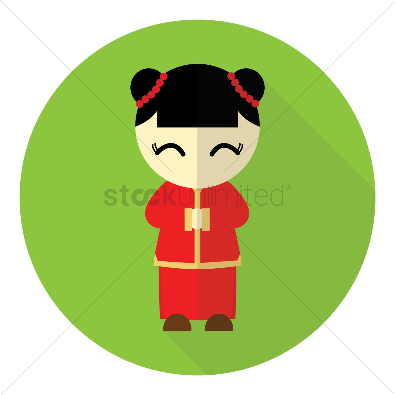 Chinese New Year Girl Traditional Greeting Design Vector Image