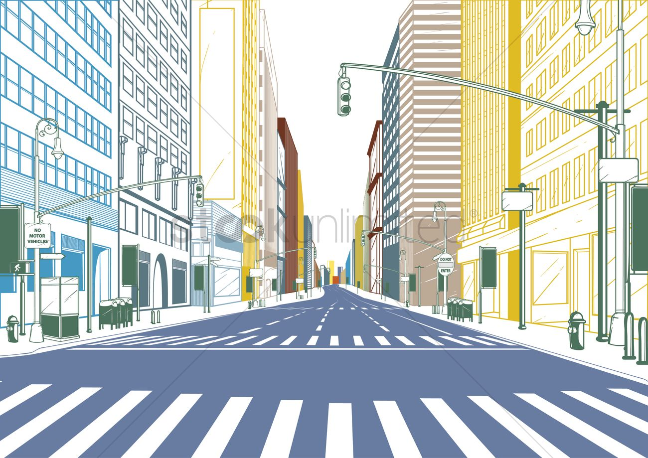 City Street Vector Image 1636894 Stockunlimited