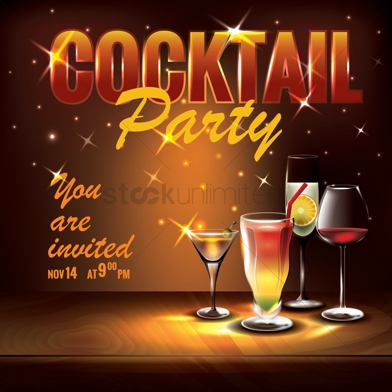 Cocktail Party Invitation Design Vector Image 1825758