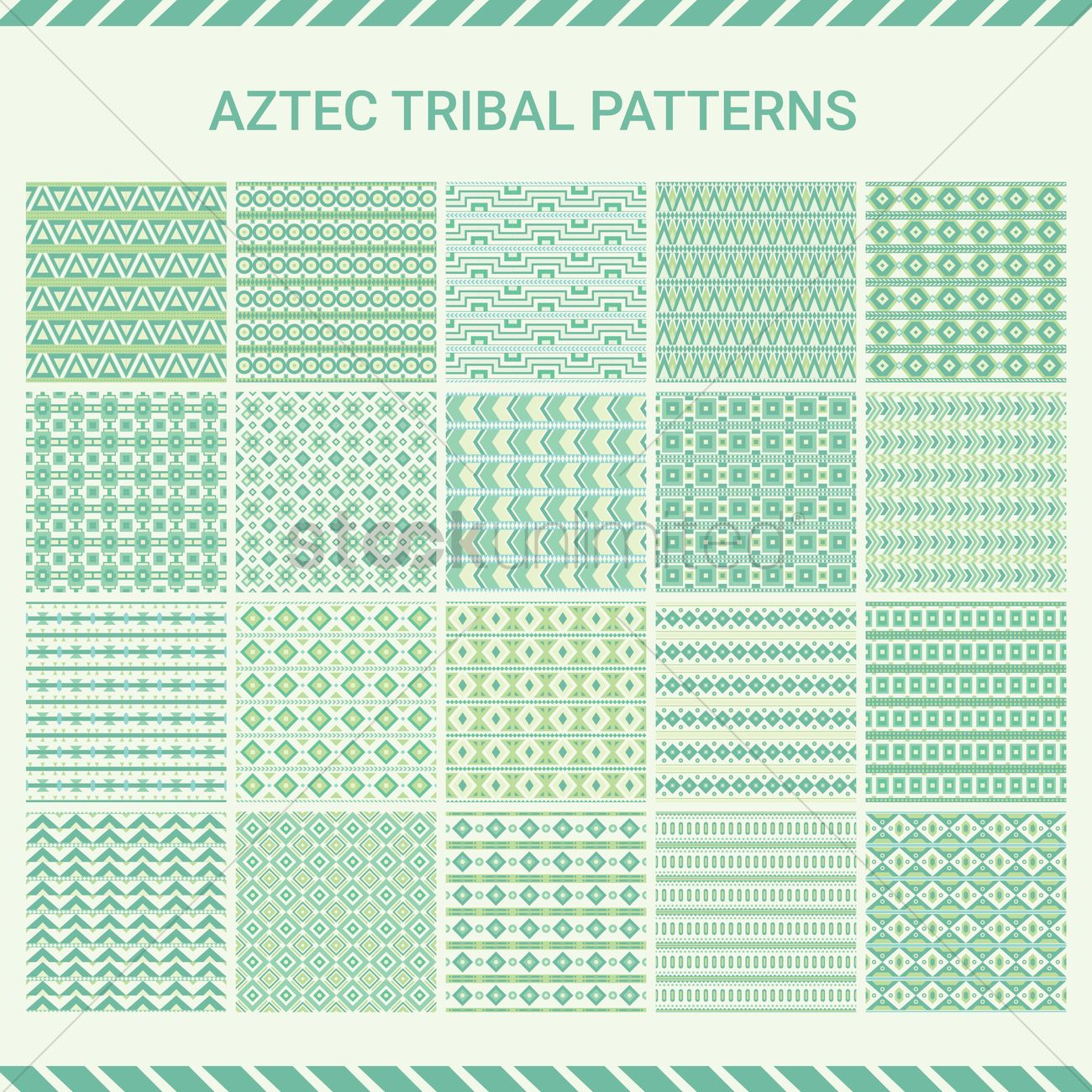 Collection of aztec tribal pattern Vector Image - 1805774